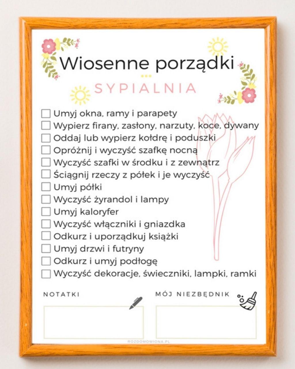 Wiosenne porządki w sypialni + lista zadań do druku
